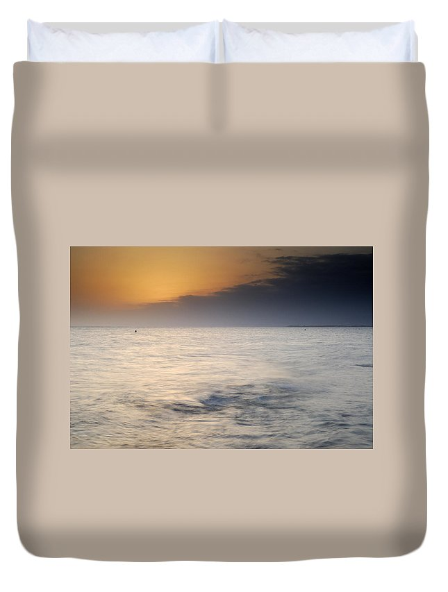 Seascape Duvet Cover featuring the photograph The Sea Before The Rain by Guido Montanes Castillo