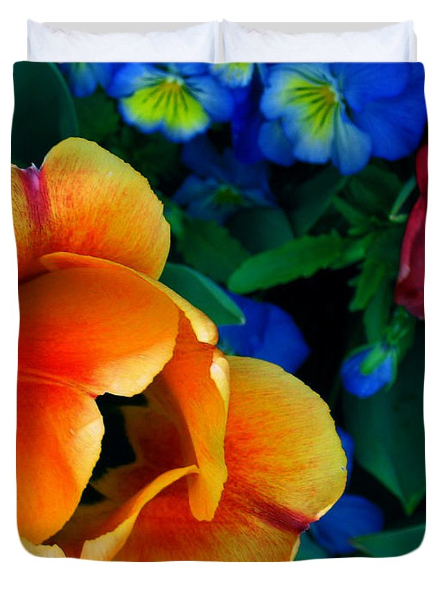 Flowers Duvet Cover featuring the photograph The Secret Life Of Tulips by Rory Sagner