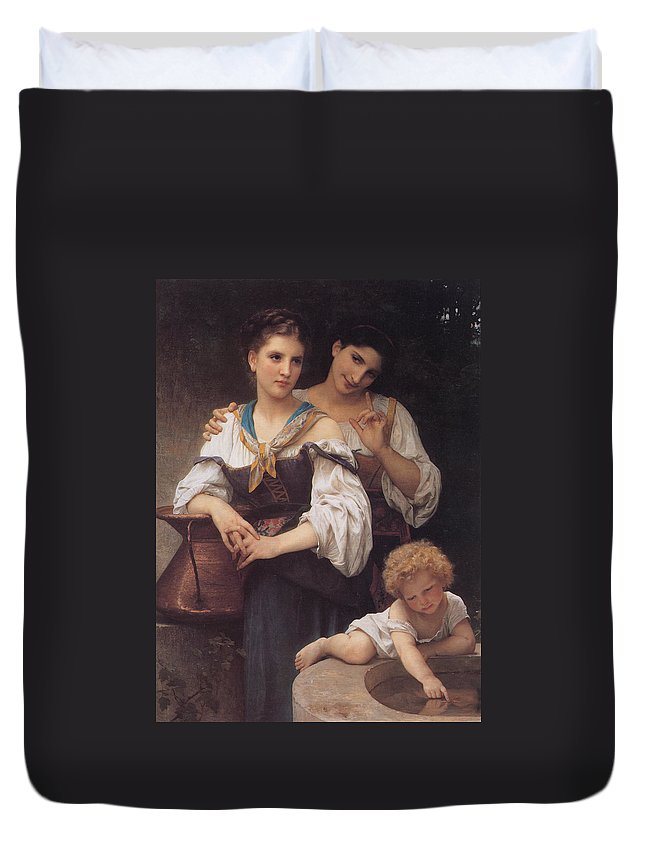 William Bouguereau Duvet Cover featuring the digital art The Secret by William Bouguereau
