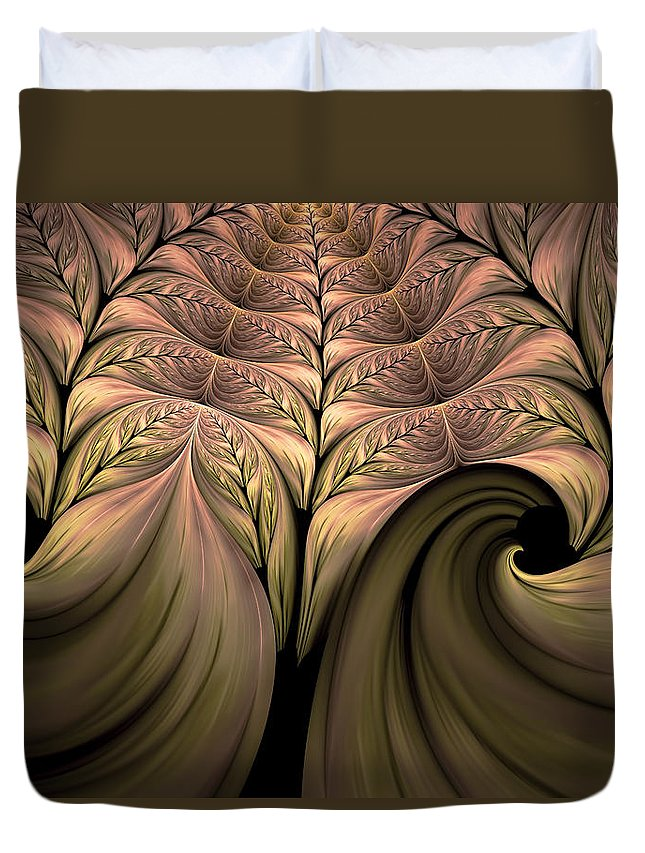 Abstract Duvet Cover featuring the digital art The Secret World Of Plants Abstract by Georgiana Romanovna