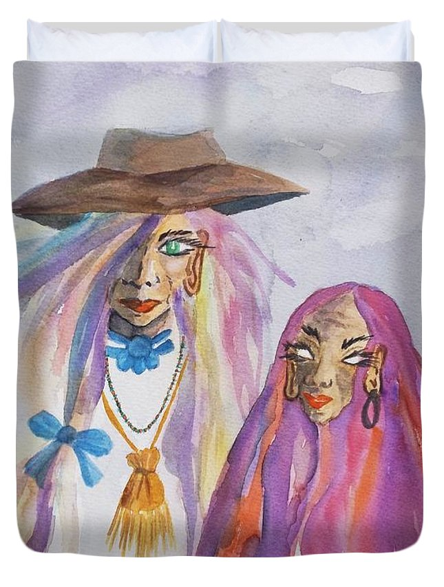 Seer Duvet Cover featuring the painting The Seer by Ellen Levinson
