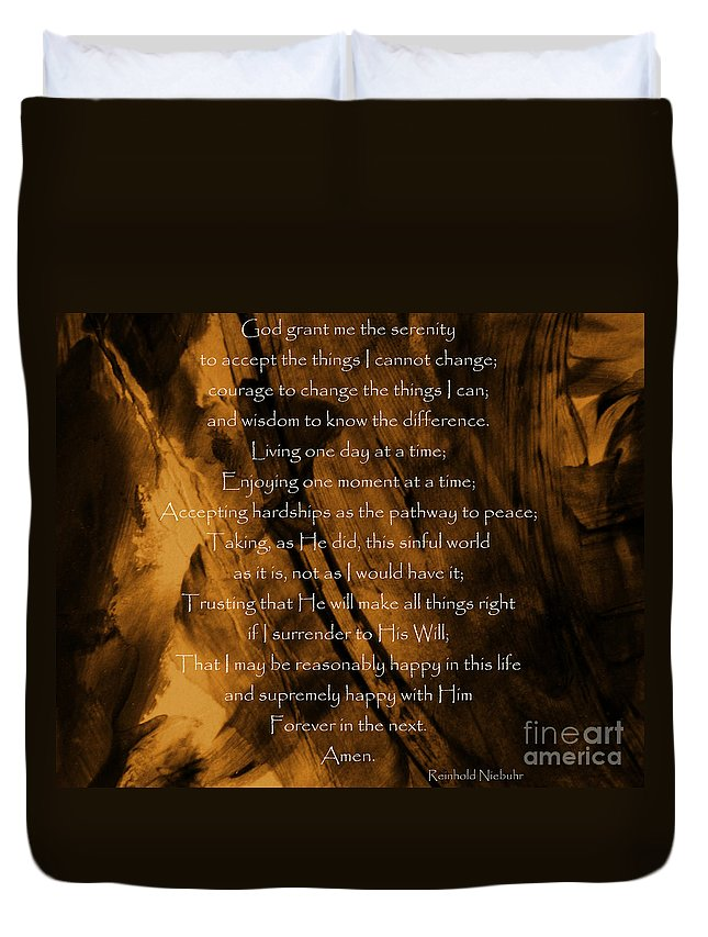 Prayer Duvet Cover featuring the photograph The Serenity Prayer by Andrea Anderegg