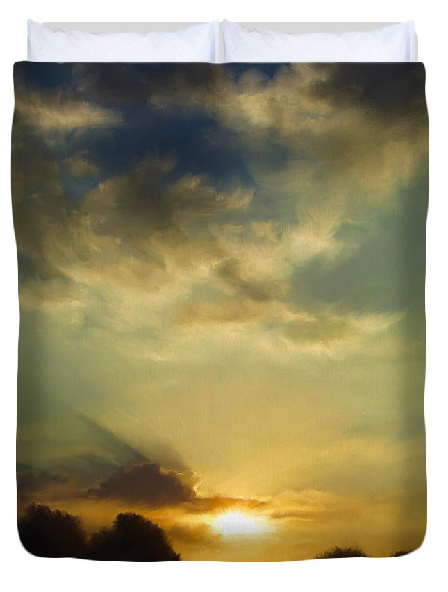 Sunset Duvet Cover featuring the digital art The Setting Sun by Dale Jackson