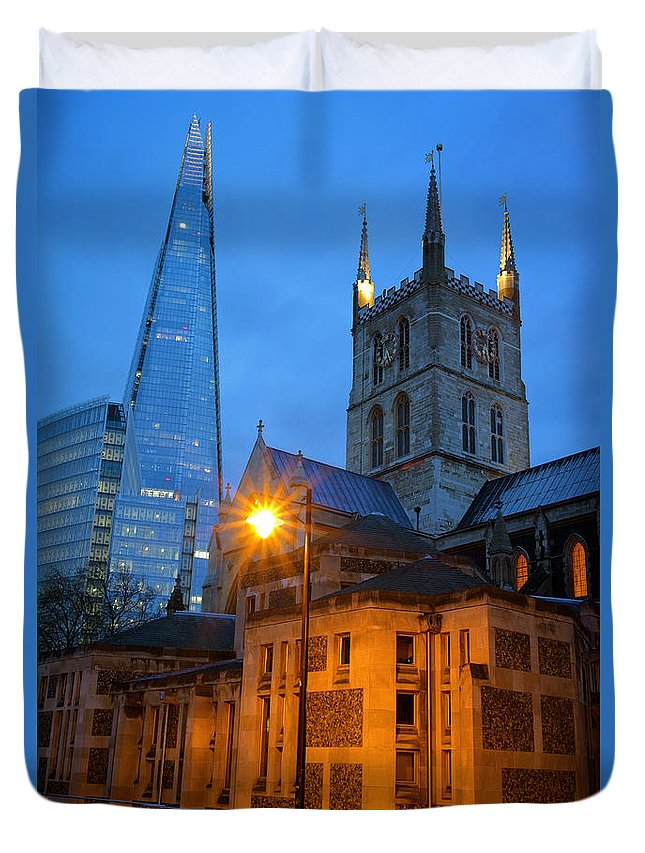 London Duvet Cover featuring the photograph The Shard And Southwark Cathedral by Darren Galpin
