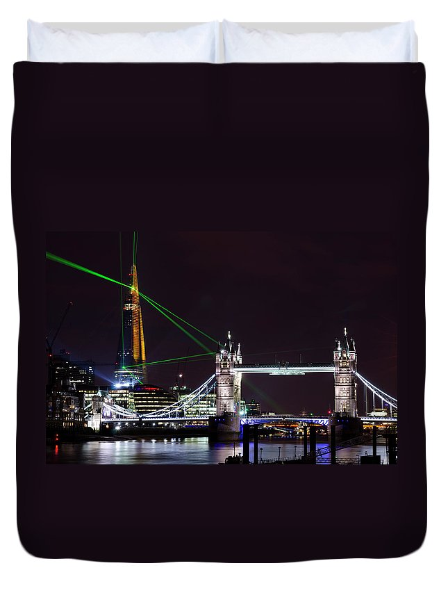 Gothic Style Duvet Cover featuring the photograph The Shard Skyscraper Opening Laser by Dynasoar