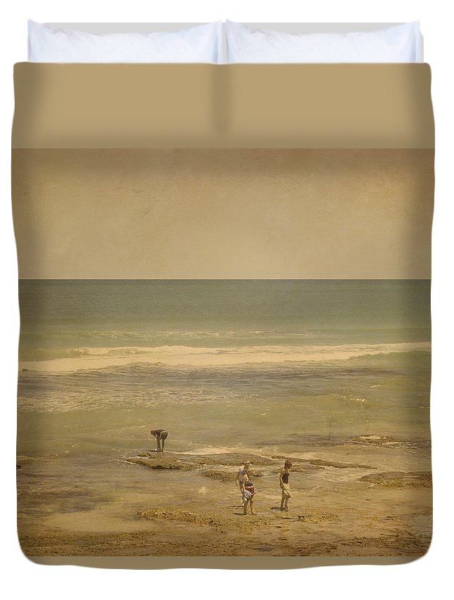 Water Duvet Cover featuring the photograph The Shell Seekers by Elaine Teague