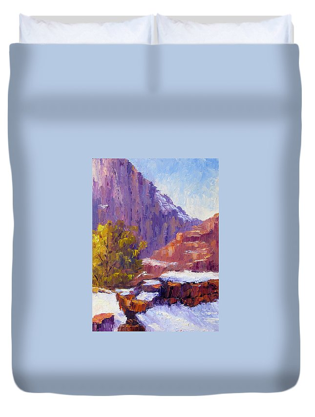 Zion National Park Duvet Cover featuring the painting The Side Of The Road At Zion by Terry Chacon