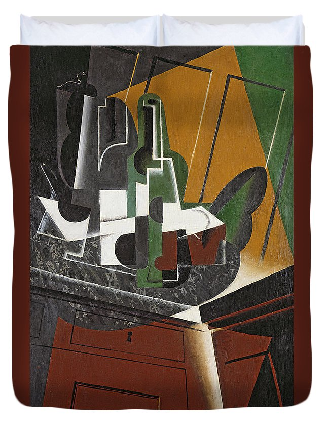 Cubist Duvet Cover featuring the photograph The Sideboard, 1917 Oil On Plywood by Juan Gris