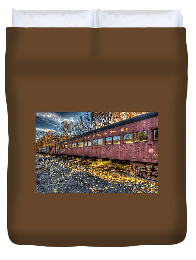 Railroad Duvet Cover featuring the photograph The Siding by William Jobes