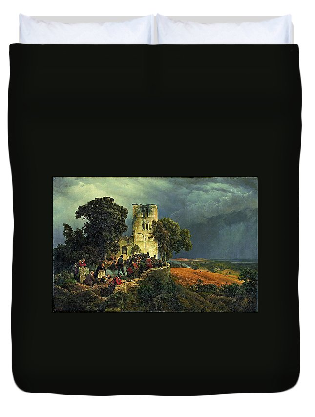 Karl Friedrich Lessing Duvet Cover featuring the painting The Siege. Defense Of A Church Courtyard During The Thirty Years' War by Karl Friedrich Lessing