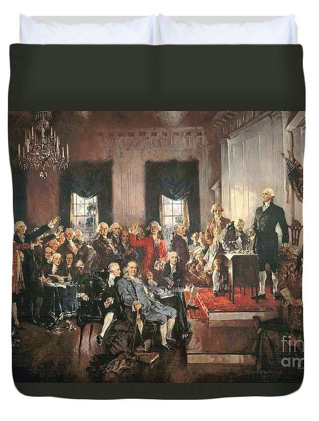 Congress Duvet Cover featuring the painting The Signing Of The Constitution Of The United States In 1787 by Howard Chandler Christy