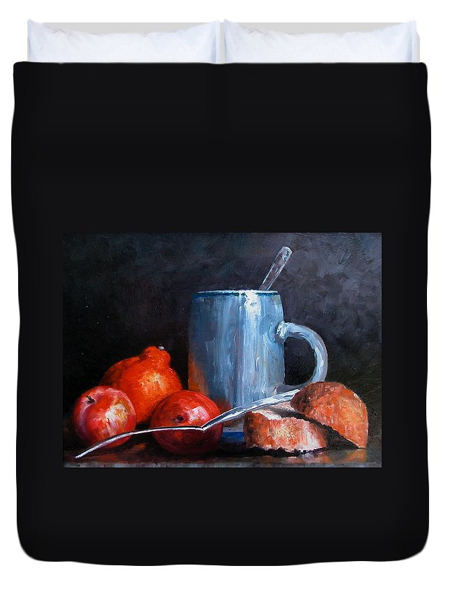 Still Life Duvet Cover featuring the painting The Silver Cup by Jim Gola