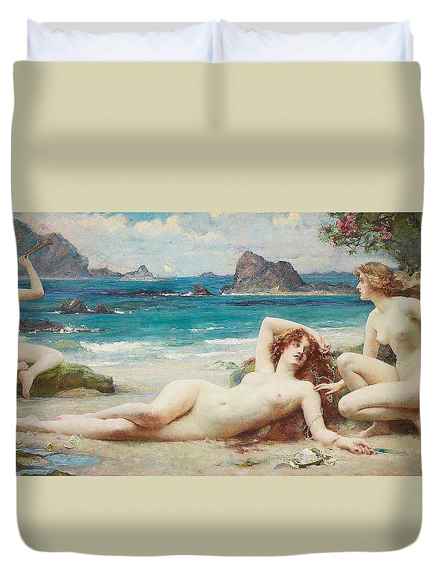 Nude Duvet Cover featuring the painting The Sirens by Henrietta Rae