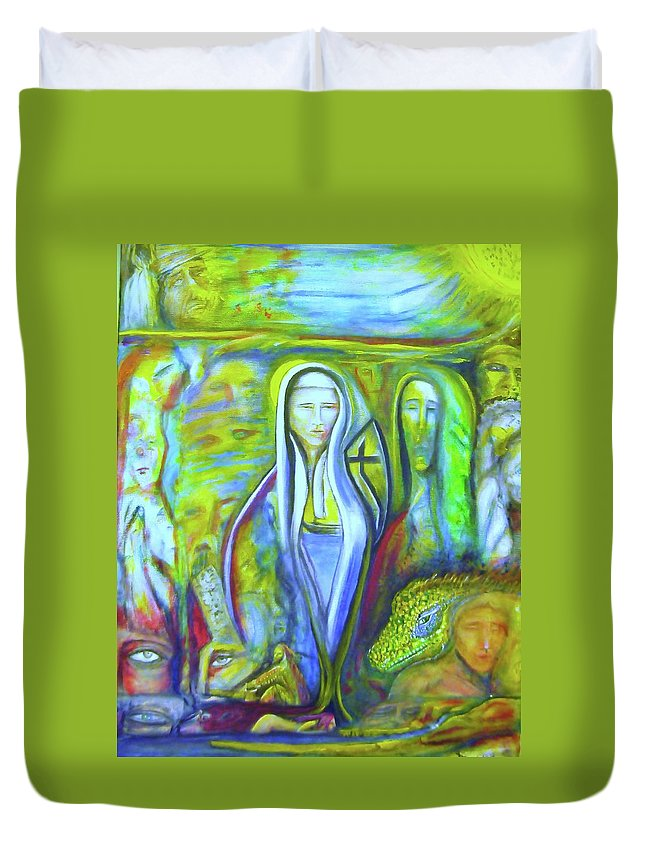 Paintings Duvet Cover featuring the painting The Sister by Kicking Bear Productions