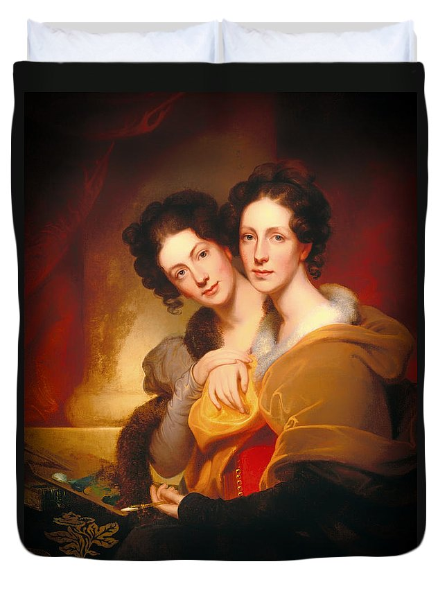 Painting Duvet Cover featuring the painting The Sisters by Mountain Dreams