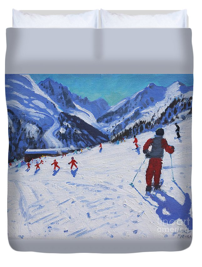 Macara Duvet Cover featuring the painting The ski instructor by Andrew Macara