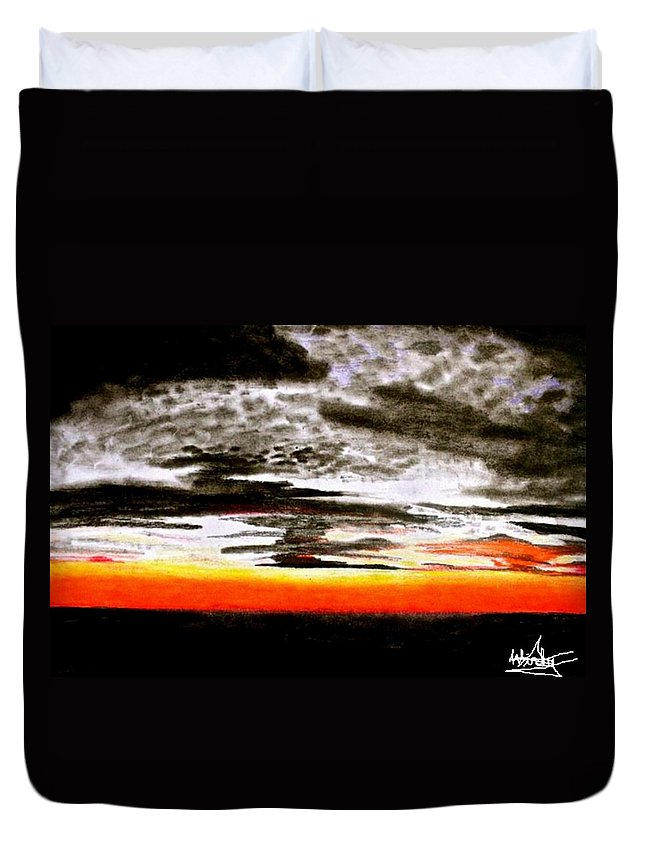 Orange Duvet Cover featuring the mixed media The Skies by Susan Windy Moraa