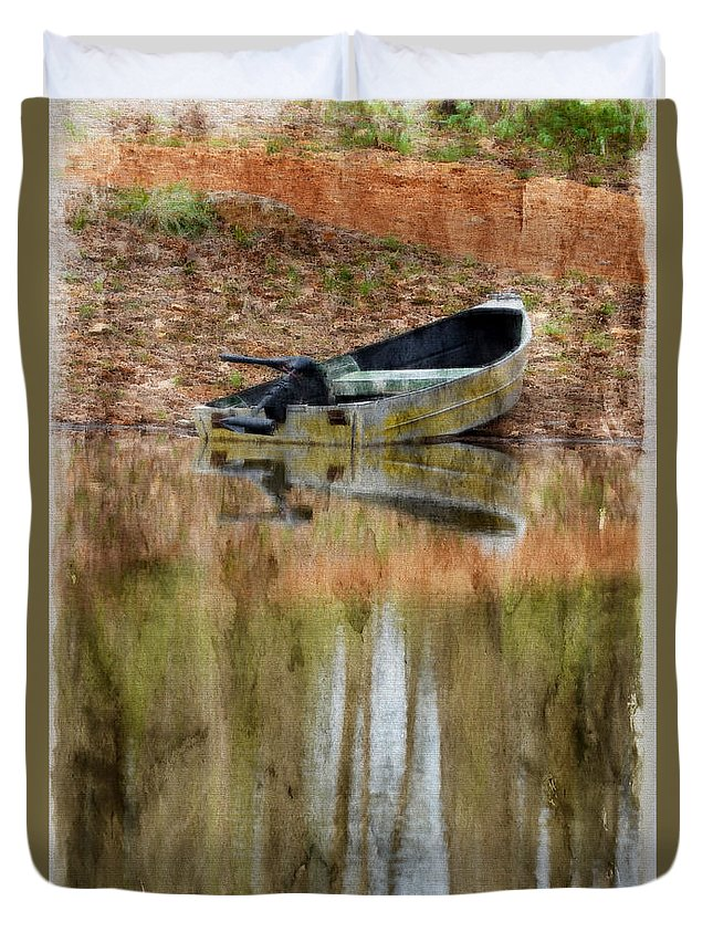 Nature Duvet Cover featuring the photograph The Small Boat Photoart II by Debbie Portwood
