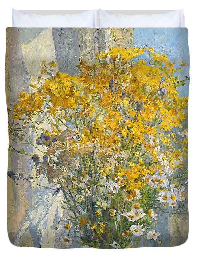Wild Flowers Duvet Cover featuring the painting The Smell Of Summer by Victoria Kharchenko