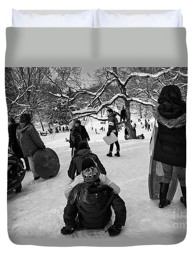 Snow Duvet Cover featuring the photograph The Snowboarders by Madeline Ellis
