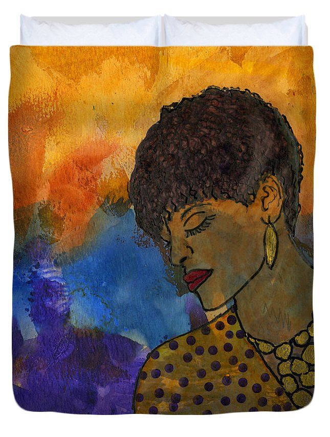 Abstract Mixed Media Duvet Cover featuring the painting The Solitude Of My Experience by Angela L Walker