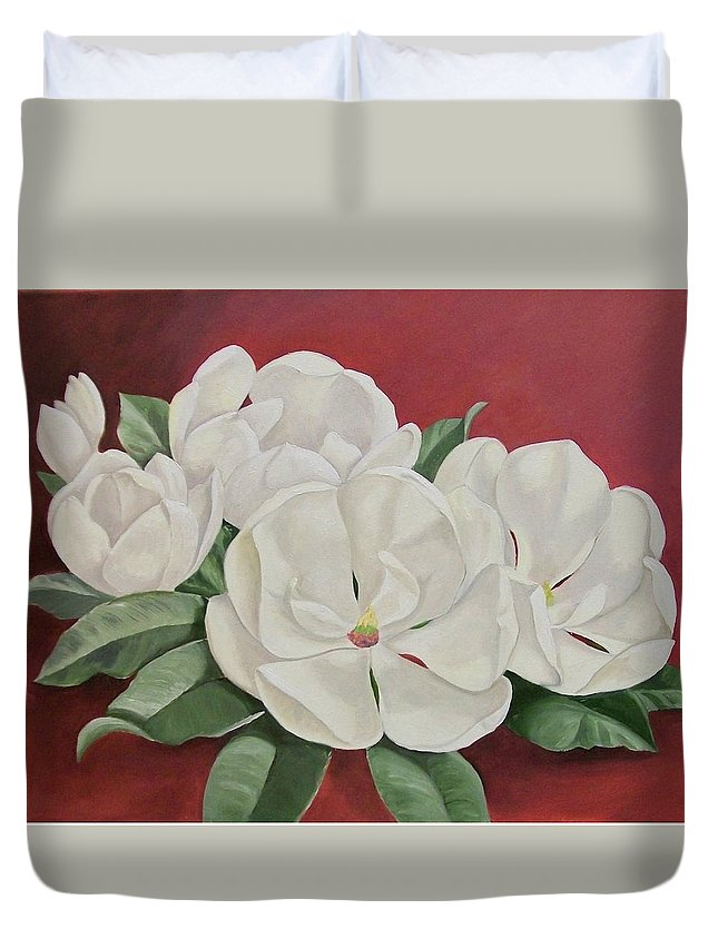 Flower Duvet Cover featuring the painting The Southern Beauty by Wanda Dansereau