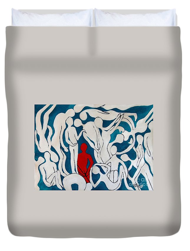 Abstract Duvet Cover featuring the painting The Spaces Inbetween by Caroline Street