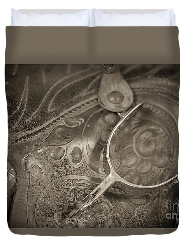 Saddle With Spur Duvet Cover featuring the photograph The Spur by Erika Weber