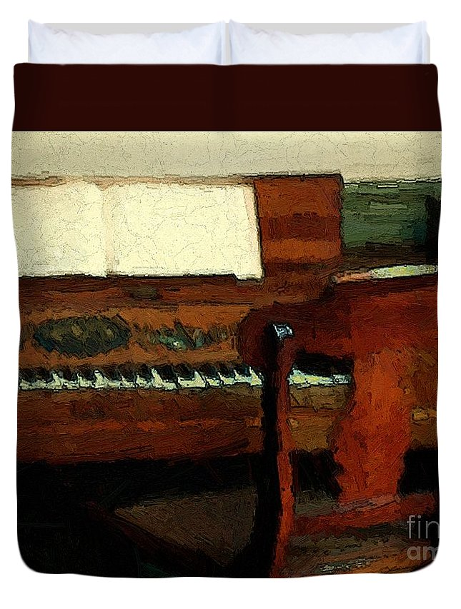 Colonial Duvet Cover featuring the painting The Square Piano by RC DeWinter