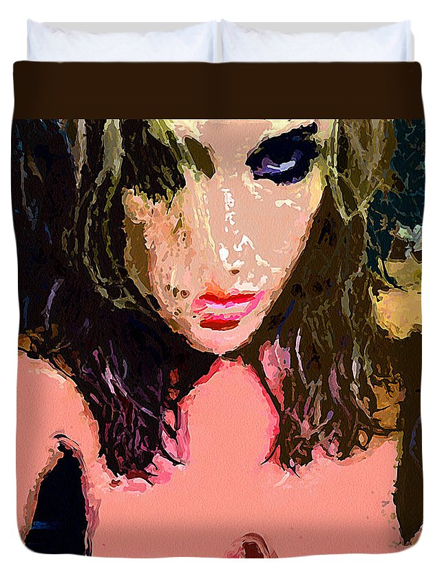 Love Duvet Cover featuring the painting Sex Stare Love by John Farr