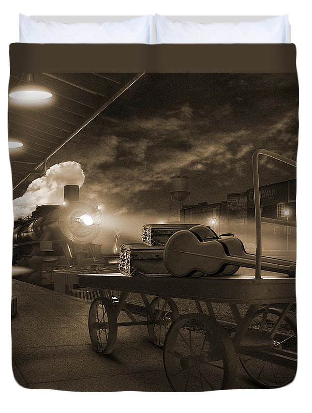 Transportation Duvet Cover featuring the photograph The Station 2 by Mike McGlothlen