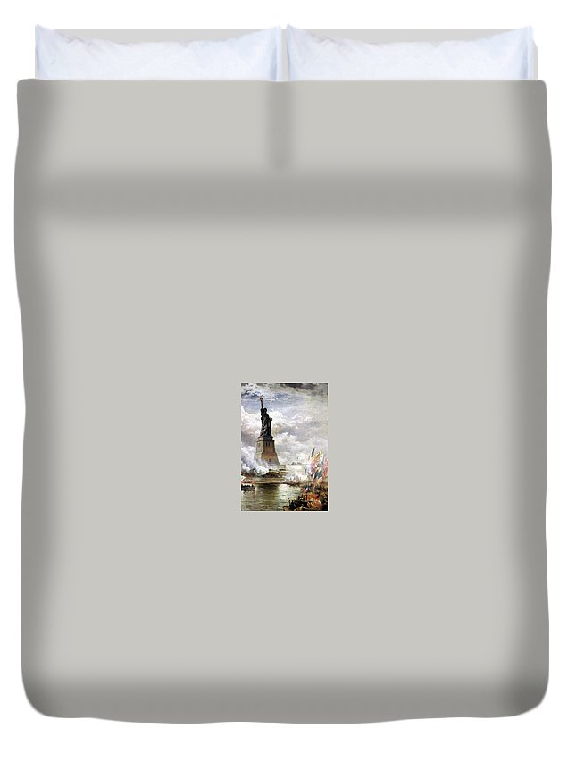 Moran Edward Unveiling Duvet Cover featuring the painting The Statue Of Liberty by MotionAge Designs