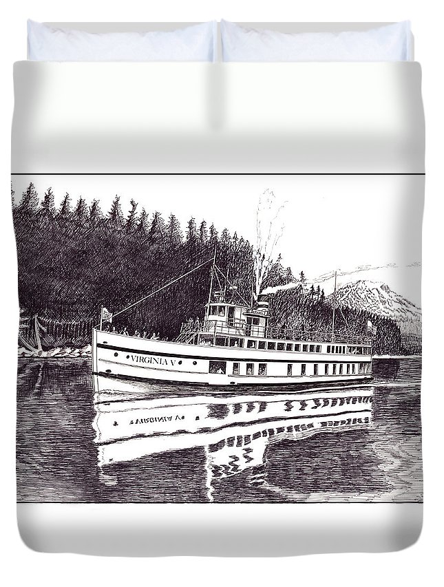 Marine Paintings Marine Art. Canvas Prints Of Boats. Prints Of Boats. Prints Of Waterfront Art. Canvas Prints Of Yachts. Framed Marine Transportation Art.framed Prints Of Lighthouses. Duvet Cover featuring the drawing The Steamer Virginia V by Jack Pumphrey