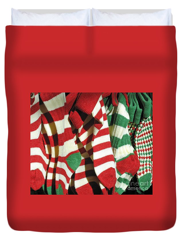 Christmas Duvet Cover featuring the photograph The Stockings Are Hung by Ann Horn