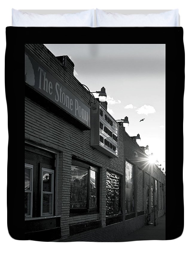 The Stone Pony Asbury Park Side View Duvet Cover featuring the photograph The Stone Pony Asbury Park Side View by Terry DeLuco