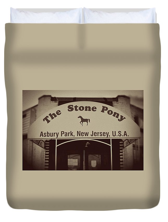 The Stone Pony Vintage Asbury Park New Jersey Duvet Cover featuring the photograph The Stone Pony Vintage Asbury Park New Jersey by Terry DeLuco