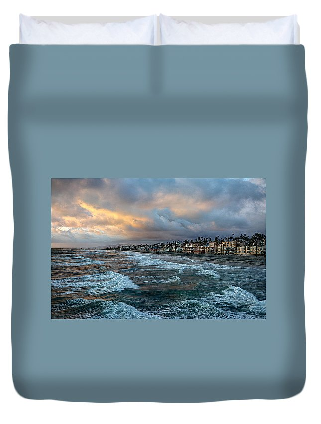 Oceanside Duvet Cover featuring the photograph The Storm Clouds Roll In by Ann Patterson