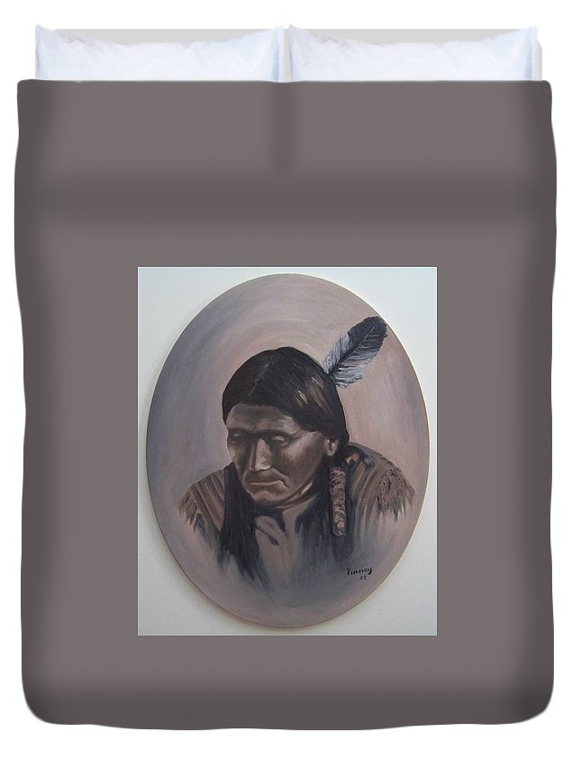 Michael Duvet Cover featuring the painting The Story Teller by Michael TMAD Finney