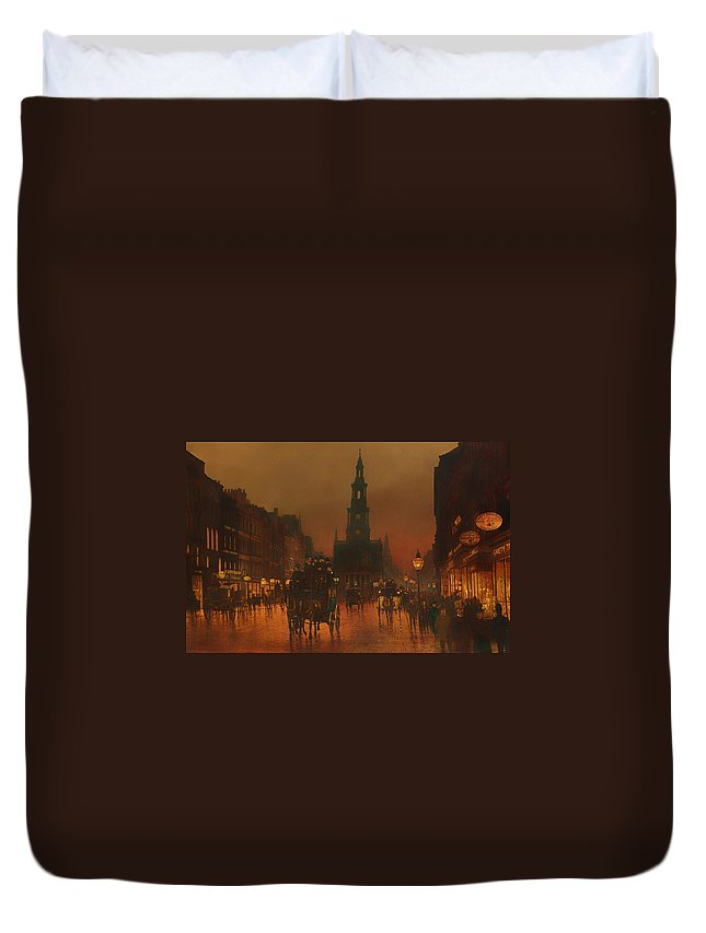 The Strand Duvet Cover featuring the painting The Strand - London 1899 by Mountain Dreams