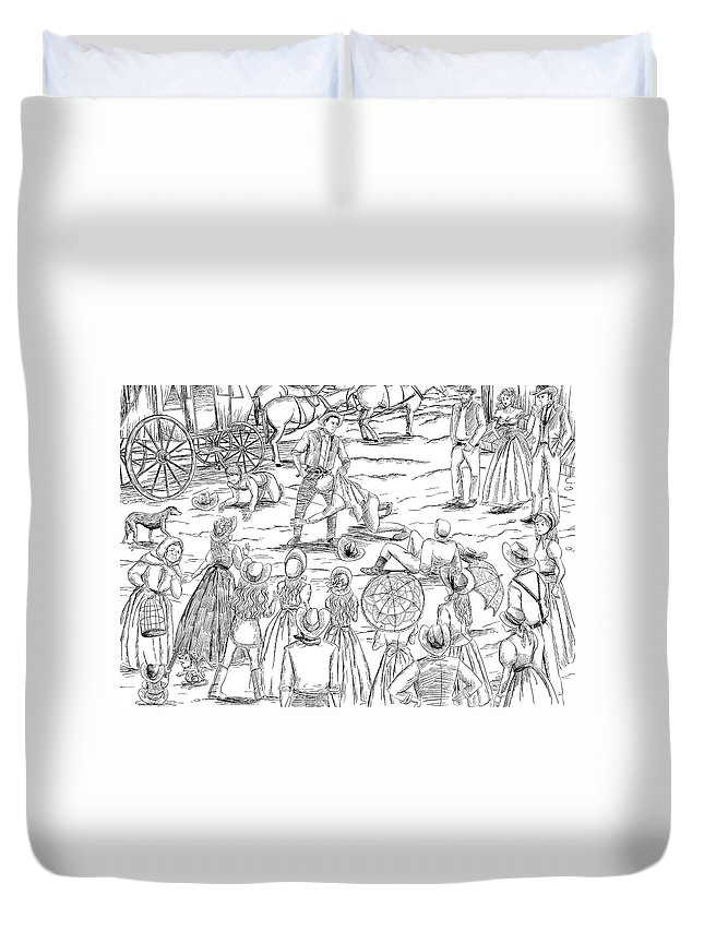 Fantasy Duvet Cover featuring the painting The Stranger by Reynold Jay