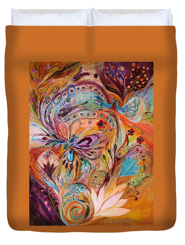 Modern Jewish Art Duvet Cover featuring the painting The Stream Of Life Part II by Elena Kotliarker