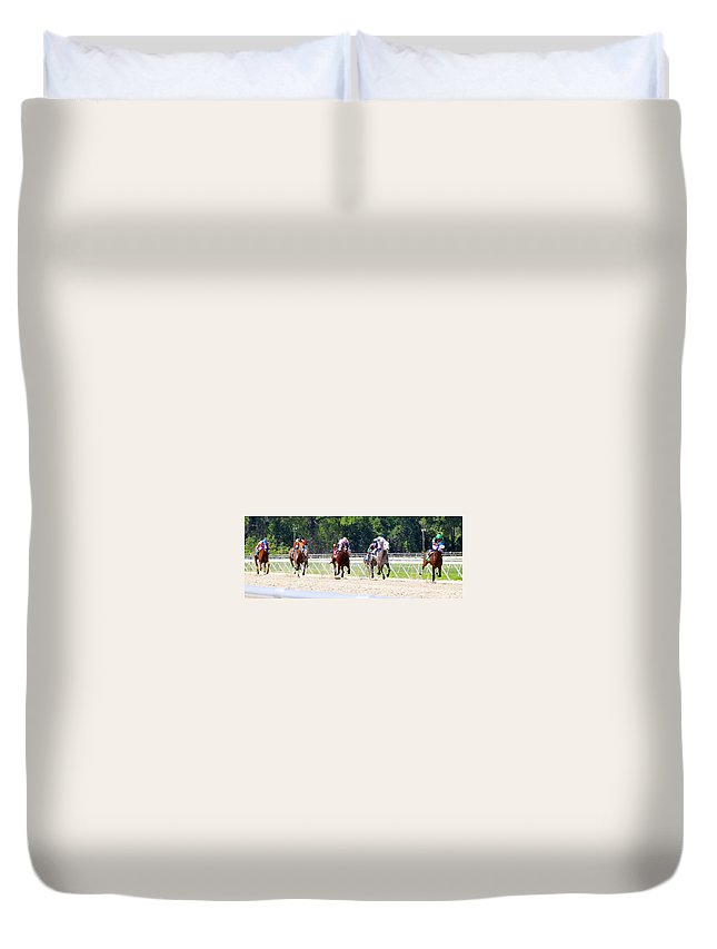The Stretch Run Duvet Cover featuring the photograph The Stretch Run by David Lee Thompson