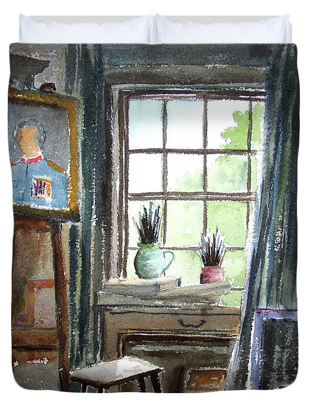 Bill Holkham Duvet Cover featuring the painting The Studio Of Juliet Pannett by Bill Holkham