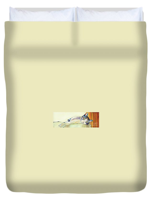 Pat Saunders-white Canvas Prints Duvet Cover featuring the painting The Sunbather by Pat Saunders-White