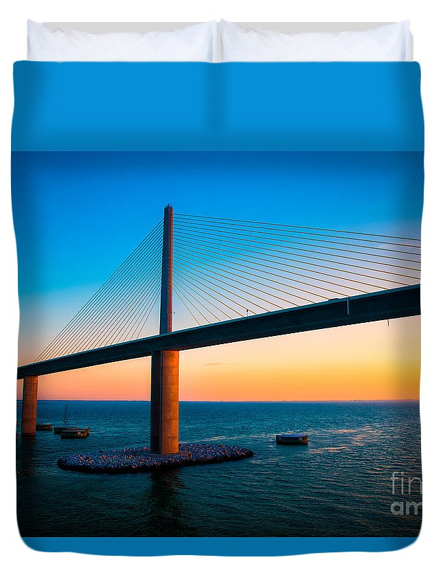 Sunshine Skyway Bridge Duvet Cover featuring the photograph The Sunshine Under The Sunshine Skyway Bridge by Rene Triay Photography