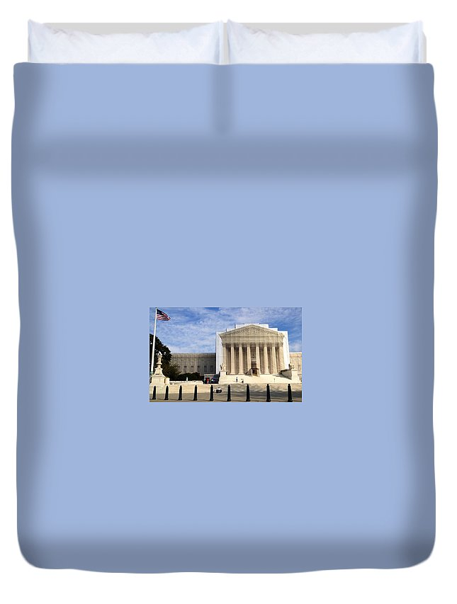 Supreme Court Duvet Cover featuring the photograph The Supreme Court Facade by Lois Ivancin Tavaf