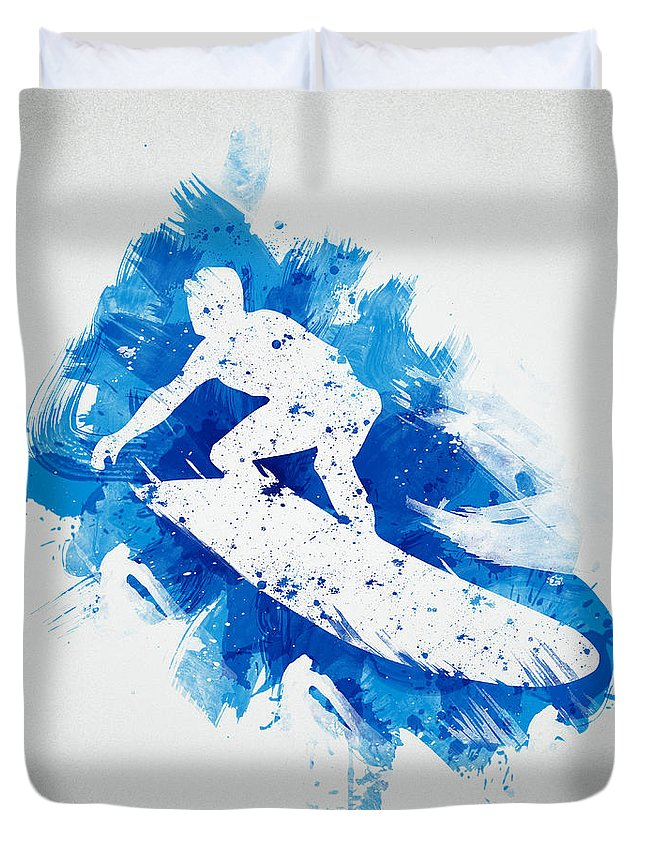 Action Duvet Cover featuring the digital art The Surfer by Aged Pixel
