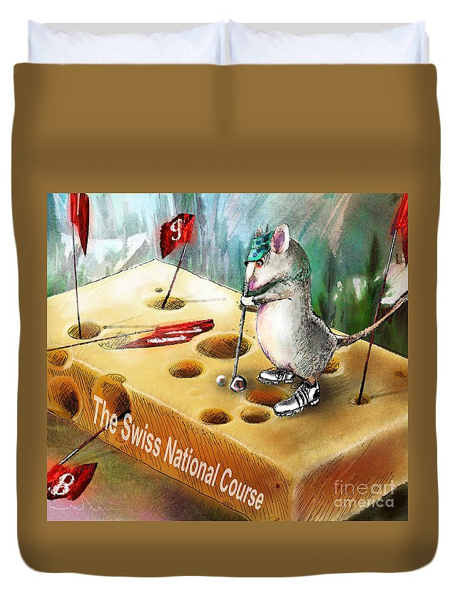 Golf Humour Duvet Cover featuring the painting The Swiss National Course by Miki De Goodaboom