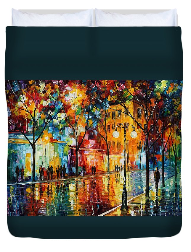 Leonid Afremov Duvet Cover featuring the painting The Tears Of The Fall - Palette Knife Oil Painting On Canvas By Leonid Afremov by Leonid Afremov