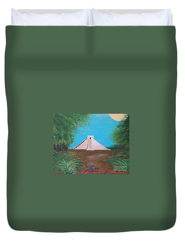 Landscape Duvet Cover featuring the painting The Temple Of Kukulcan by Alys Caviness-Gober
